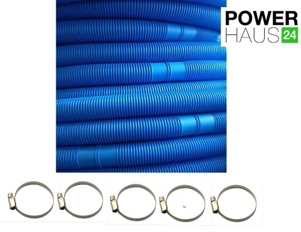 Powerhaus24® - 10.5 m swimming pool hose 38 mm 6/4 in incl. 5 stainless steel hose clamps