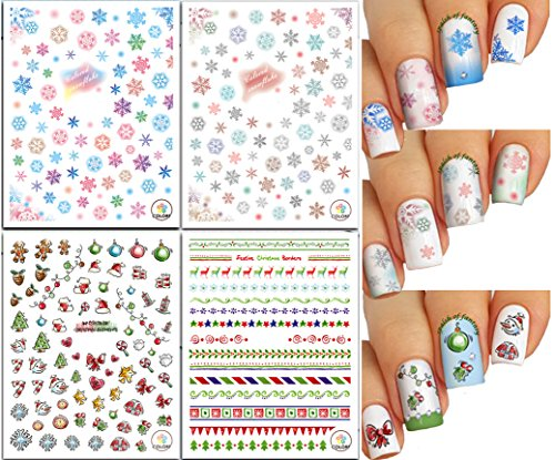 Nail Art 3D Stickers ♥ Christmas & New Year Theme - Snowflakes and Festive Borders, 4-Pack /CA-III/