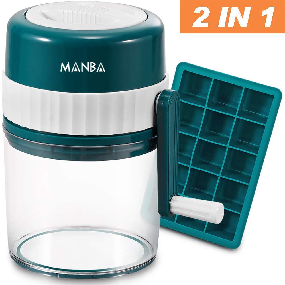 MANBA Snow Cone Machine, Slushie Machine, Shaved Ice Machine, Crushed Ice Maker, Ice Crusher, Ice Shaver plus Flexible Silicone Ice Cube Trays Molds - BPA Free