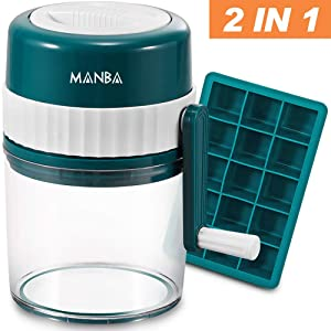 MANBA Snow Cone Machine, Slushie Machine, Shaved Ice Machine, Crushed Ice Maker, Ice Crusher, Ice Shaver plus Flexible Silicone Ice Cube Trays Molds - BPA Free