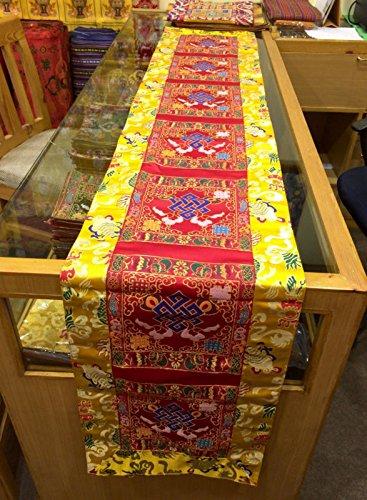 (Tibetan endless knot silk brocade Shrine cover/table cloth/altar cover/altar cloth/table runner/200 cm Long)