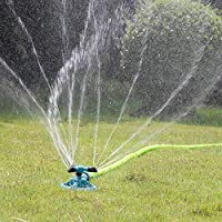 Huaze Lawn Sprinkler - Garden Sprinkler Automatic 360° Rotating Irrigation System Water Sprinklers for Garden -Oscillating Rotary High Impact -Leak- Proof Design and Spike Base (Green)