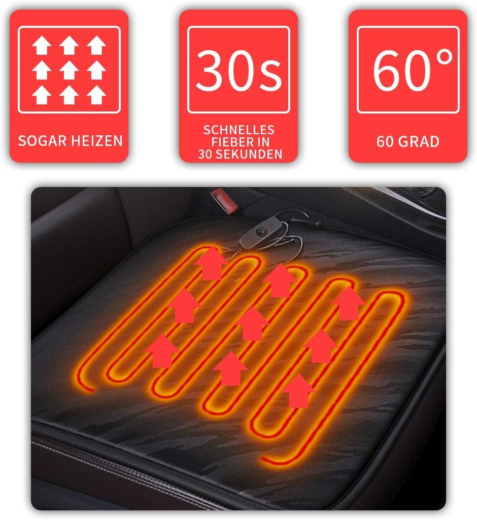 Cihely Sitzheizung Auto Heizkissen 12v Beheizte Sitzauflage Konstante Temperatursicherheit Kontrolleur Universal Vordersitz Heizauflage Schwarz Für Auto Haus Auto