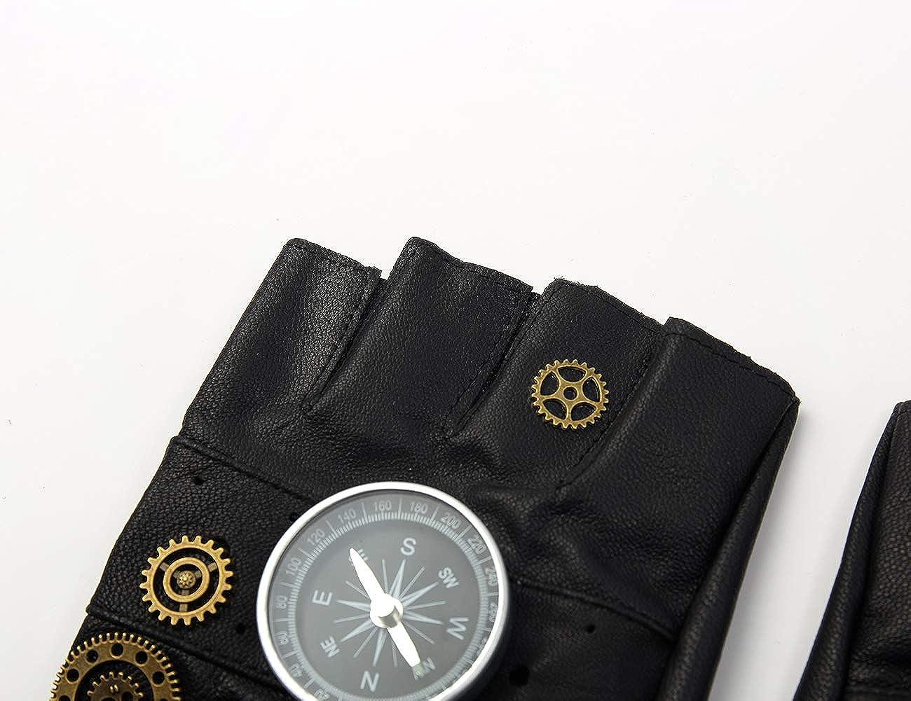 Steampunk Leather Gloves Mens Gothic Fingerless Mittens
