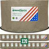 HIGHEST QUALITY REUSABLE (20 PACK) (3 Gallon Tan) Classic Grassroots Fabric Pots100% Made in USA - NOT CHEAP FOREIGN Grow Bags professional grade TAN planters are better for your plants