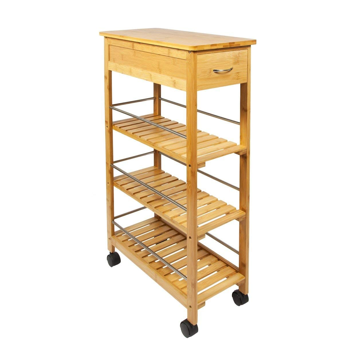 G4RCE 4 Tier Slim Portable Natural Bamboo Wooden Kitchen Trolley With Wheels Organiser Cart Basket UK Generic