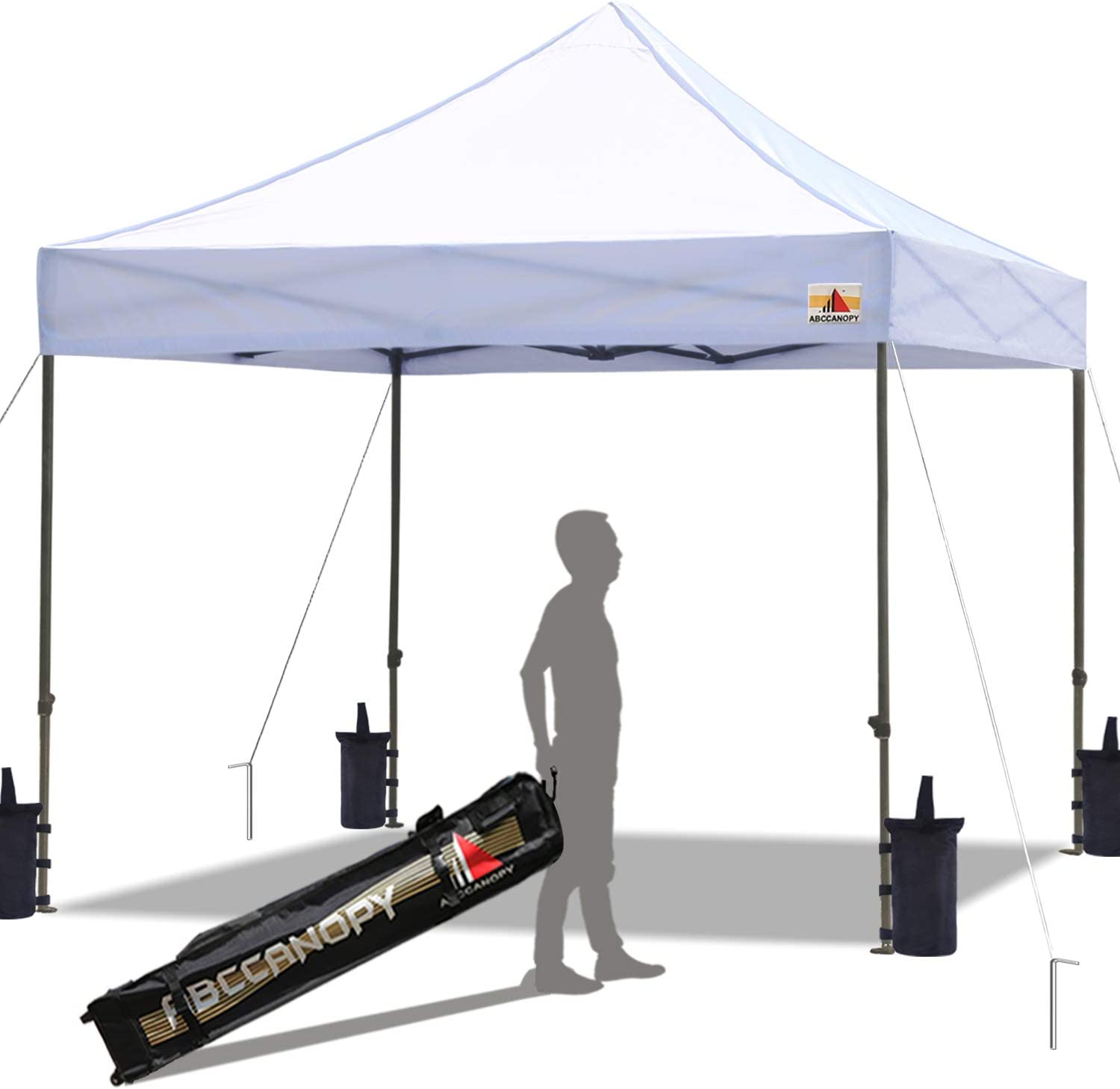 ABCCANOPY Pop up Canopy Tent Commercial Instant Shelter with Wheeled Carry Bag, Bonus 4 Canopy Sand Bags, 10x10 FT White