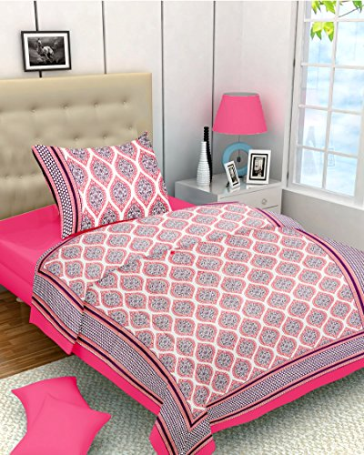 Lali Prints 100% Cotton Pink Designer 1 Single Bedsheet with 1 Pillow Cover