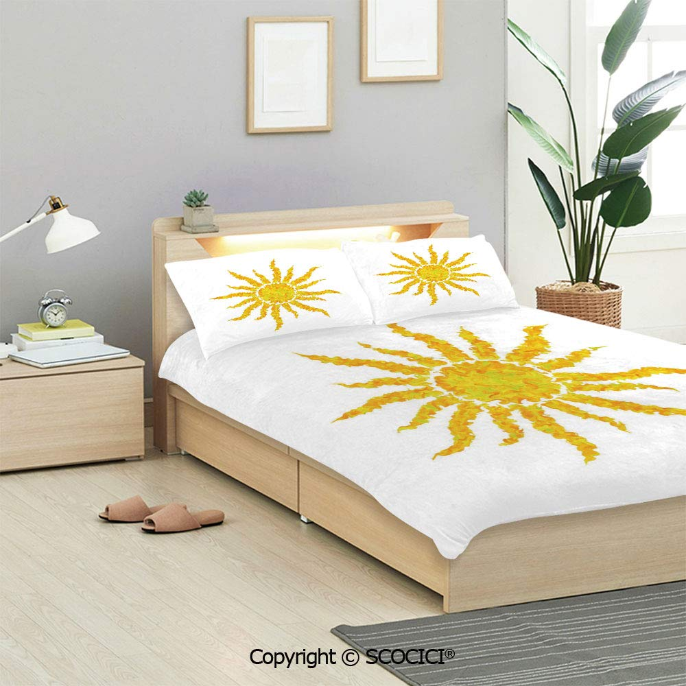 Buy Scocici Sun Bedding Sets 1 Duvet Cover 2 Pillow Shams Artsy Grunge Star Drawing Circle And Stripes Abstract Center Of Solar System Decorative Duvet Cover Sets For Kids Twin Single All Seasons Online