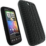 igadgitz Negro Case Neumático Tyre Silicona Funda Cover Carcasa para HTC Desire S Android + Pantalla Protector