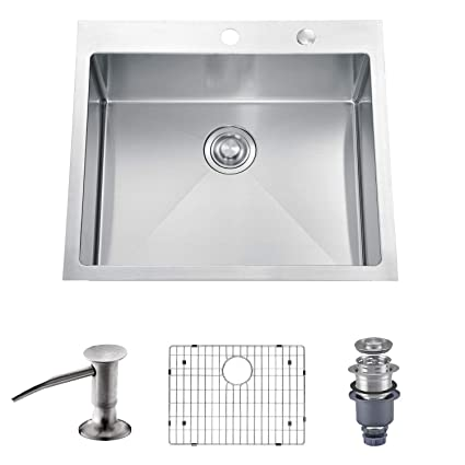 Tremendous Mowa Hts2522 25 X 22 Handmade 16 Gauge Stainless Steel Top Mount Drop In Single Bowl Kitchen Sink W Soap Dispenser Sink Grid Drain Strainer Complete Home Design Collection Lindsey Bellcom