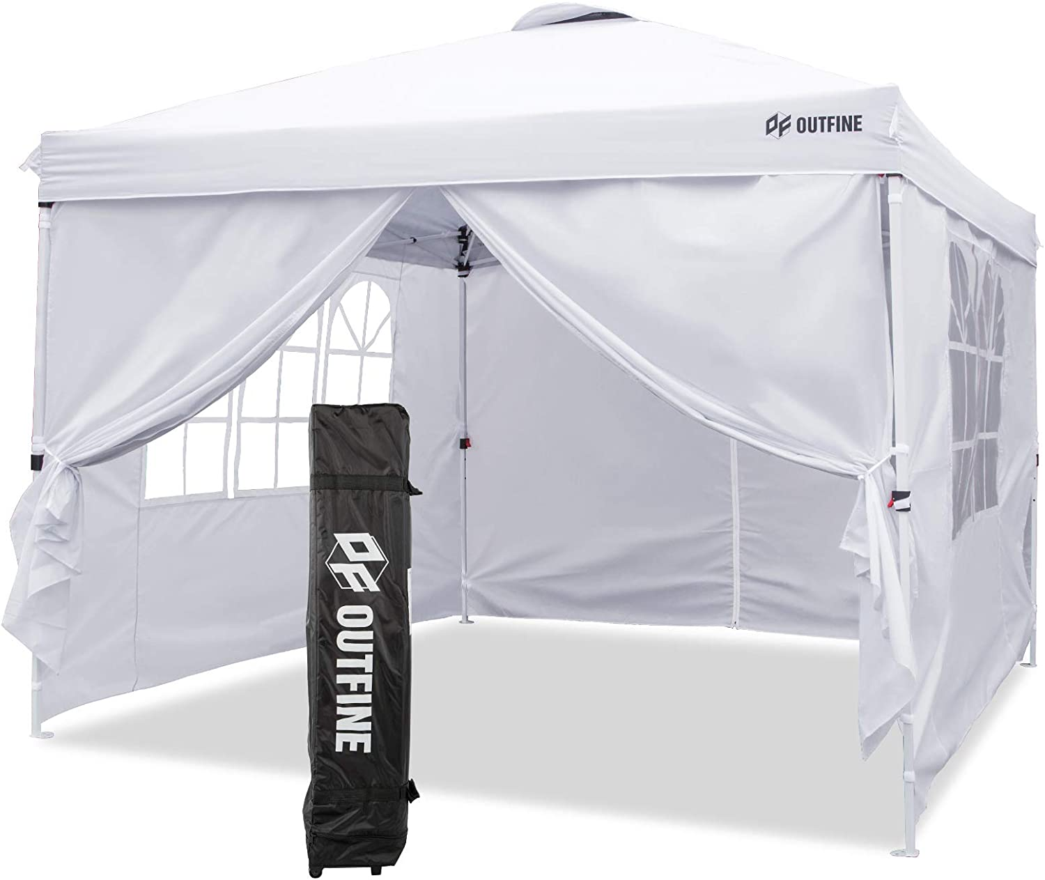 OUTFINE Canopy 10'x10' Pop Up Commercial Instant Gazebo Tent, Fully Waterproof, Outdoor Party Canopies with 4 Removable Zippered Sidewalls, Stakes x8, Ropes x4 (White, 1010FT)
