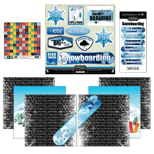 Scrapbook Customs Go Big Snowboarding Themed Paper and Stickers Scrapbook Kit