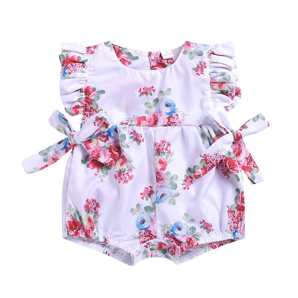 NUWFOR Newborn Baby Girls Ruffle Floral Print Bow Romper Bodysuit Jumpsuit Clothes(White,12-18Months)