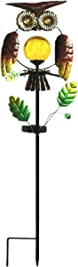 Outdoor Waterproof Garden Solar Lights,Solar Powered Stake Lights,Creative Metal Owl with Warm White Crackle Glass Globe Lights for Garden,Patio,Lawn,Yard Decorations Lights
