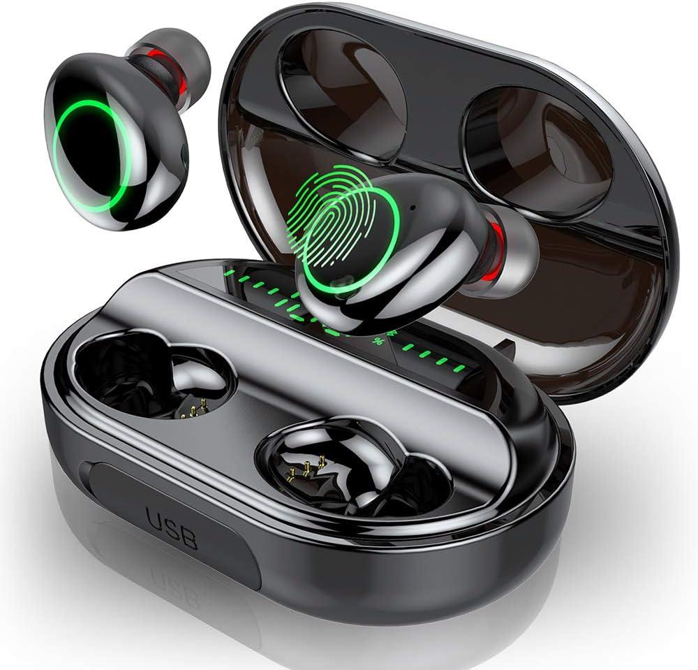 Motast Auriculares Bluetooth, Auriculares Inalámbricos Bluetooth 5.0, IPX8 Impermeable Auriculares Inalámbricos Deporte, 3500mAh Caja de Carga, HI-FI Estéreo Micrófono, Pantalla LCD, Control Tactil