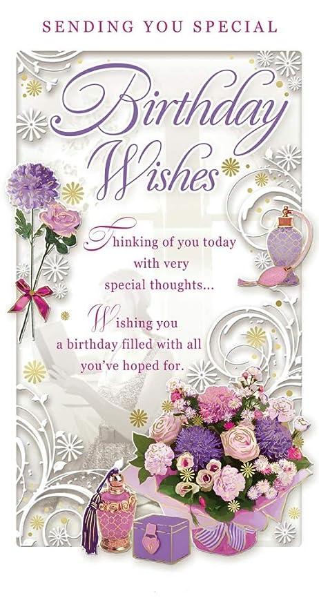 happy birthday female images Open Female Birthday Card   Happy Birthday Flower Bouquet  happy birthday female images