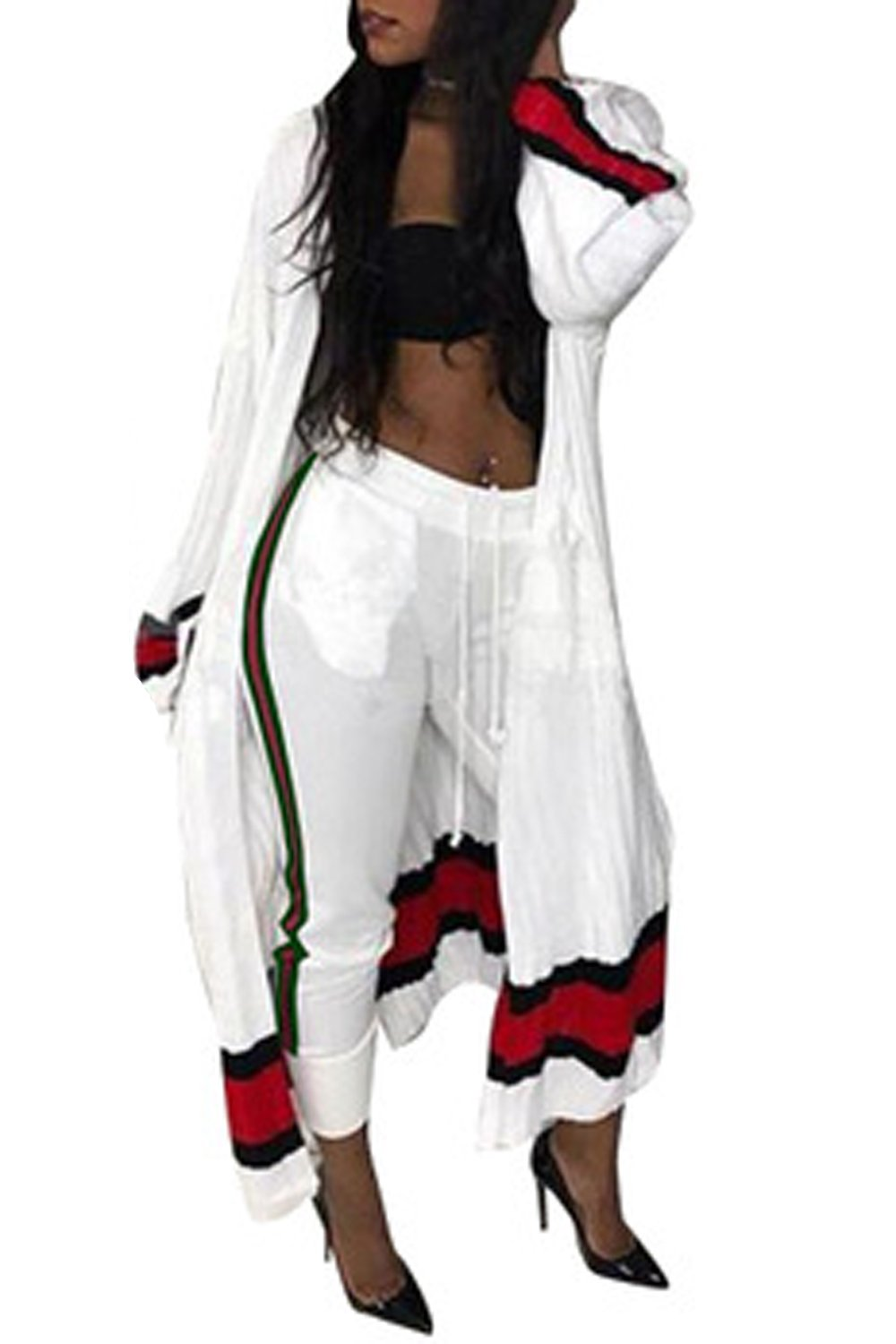 Women Casual 2 Pieces Cardigan and Full Length Pants Hot Set White XL