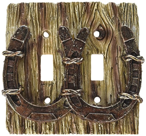 Cool Cowboy Horseshoe 3-d Double Light Switch - Horse Covers Switch Light