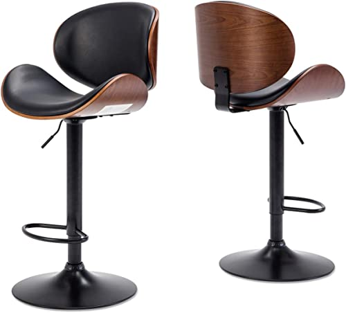 BELLEZE Set of 2 Bar Stool Modern Adjustable Counter Height Swivel Walnut Curved Back Faux Leather Base Barstool