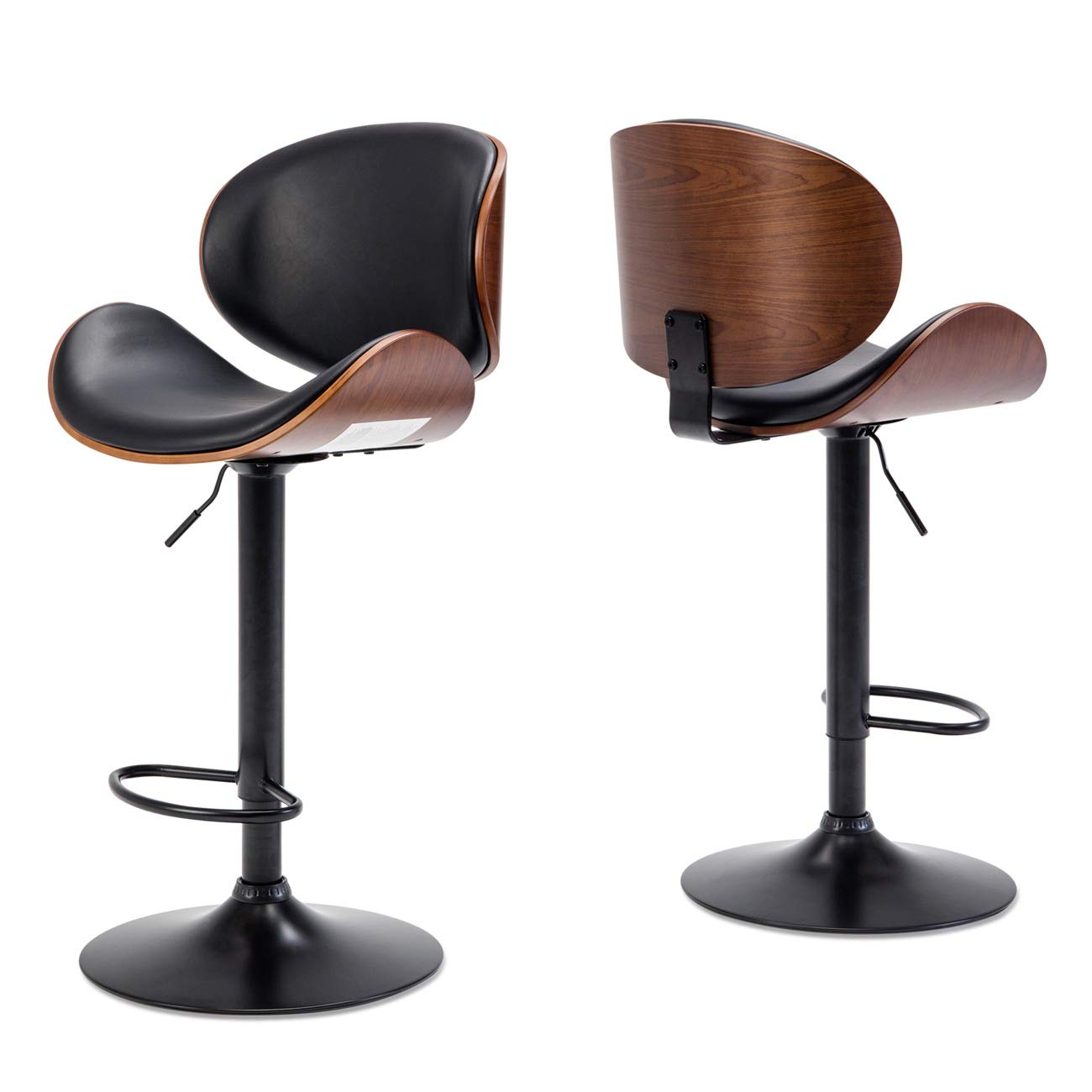 BELLEZE Set of 2 Bar Stool Modern Adjustable Counter Height Swivel Walnut Curved Back Faux Leather Base Barstool, Black