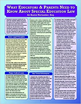 Amazon Com What Educators Parents Need To Know About Special Education Law 9781934032688 Karen Norlander Books