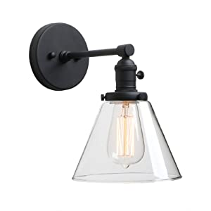 Phansthy Black Industrial Wall Sconce Light Single Light Wall Lamp with 7.3 Inches Cone Canopy for Bathroom Kitchen Restaurant (Black)