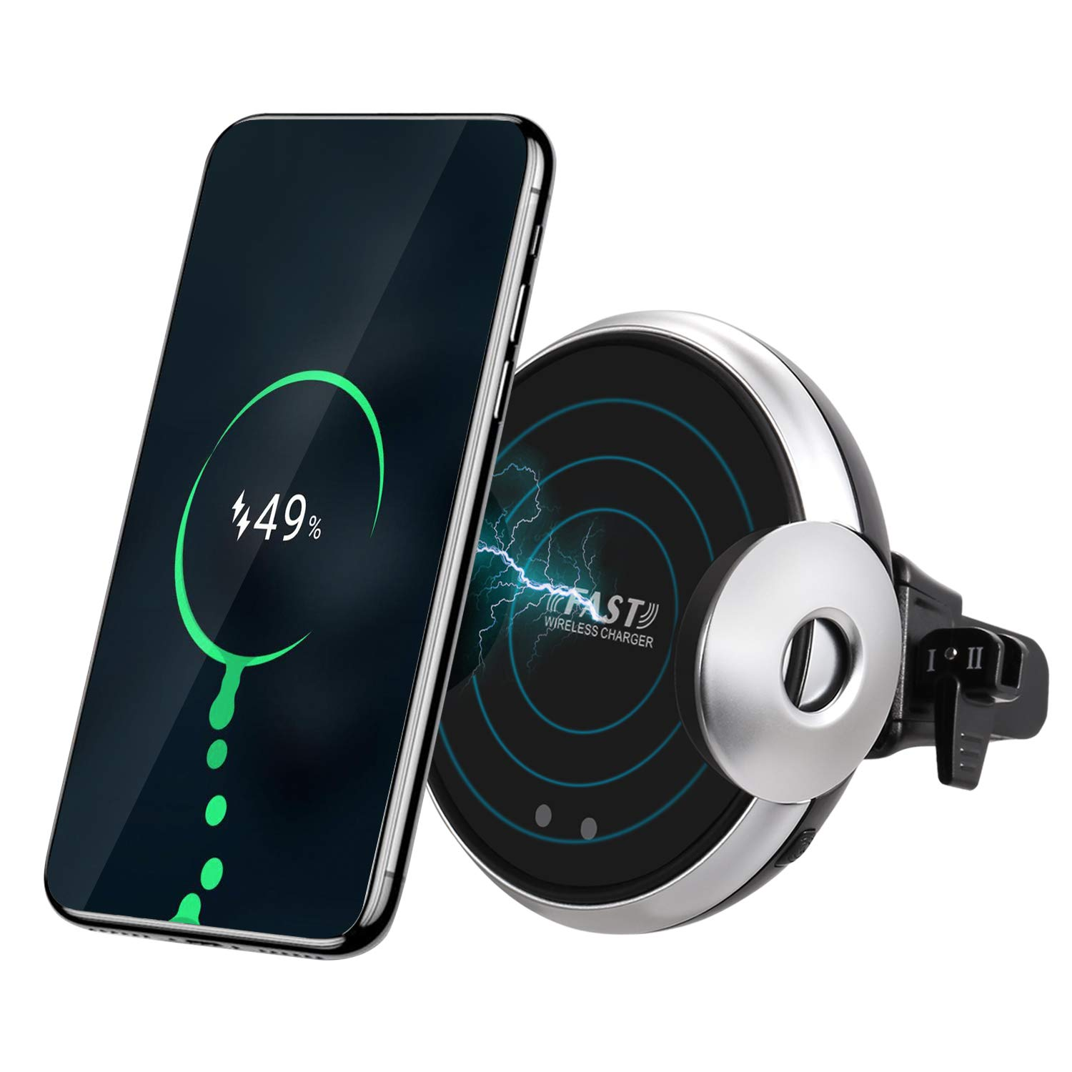 Wireless Car Charger Auto-Clamping Air Vent Phone Mount Holder 5W/10W/15W Fast Car Charging Cell Phone Mount Compatible for iPhone Xs/XS Max/XR/X/8 Plus, Galaxy Note 9/S9/S8, Qi Enabled Devices