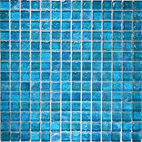 Turquoise Textured Iridescent Glass Tile Blend 1