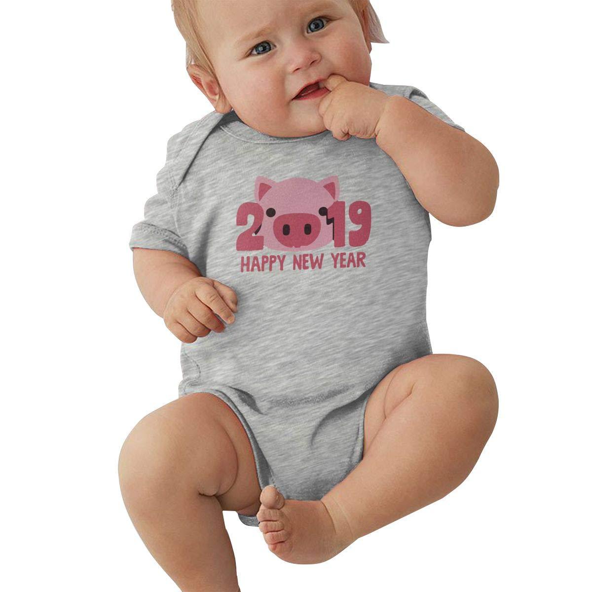 Newborn Baby Girl Boy 2019 Happy New Year Cute Pig BodysuitRomper Jumpsuit Short Sleeve Bodysuit Tops Clothes