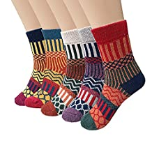 Women's 5 Pairs Vintage Style Winter Knitting Warm Wool Crew Socks
