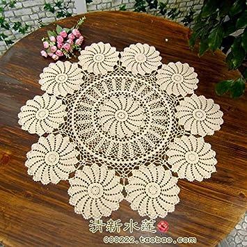 Bluelss Neue Ankunft Baumwolle Tischdecke Mit Blumen Häkeln Runde
