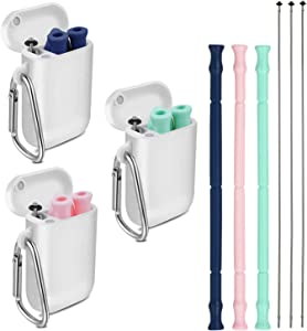 3pcs Longzon Reusable Collapsible Silicone Straws, Foldable Portable Drinking Straws with Carrying Case and Cleaning Brushes – Blue, Green & Pink