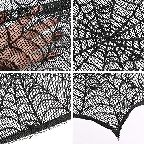 Jalc Halloween Decorations. Cobweb Black Lace Spider Web Fireplace Mantle Scarf Cover Festive Party Supplies 18 x 98 inch Door Window Table Decoration Black Curtain Props