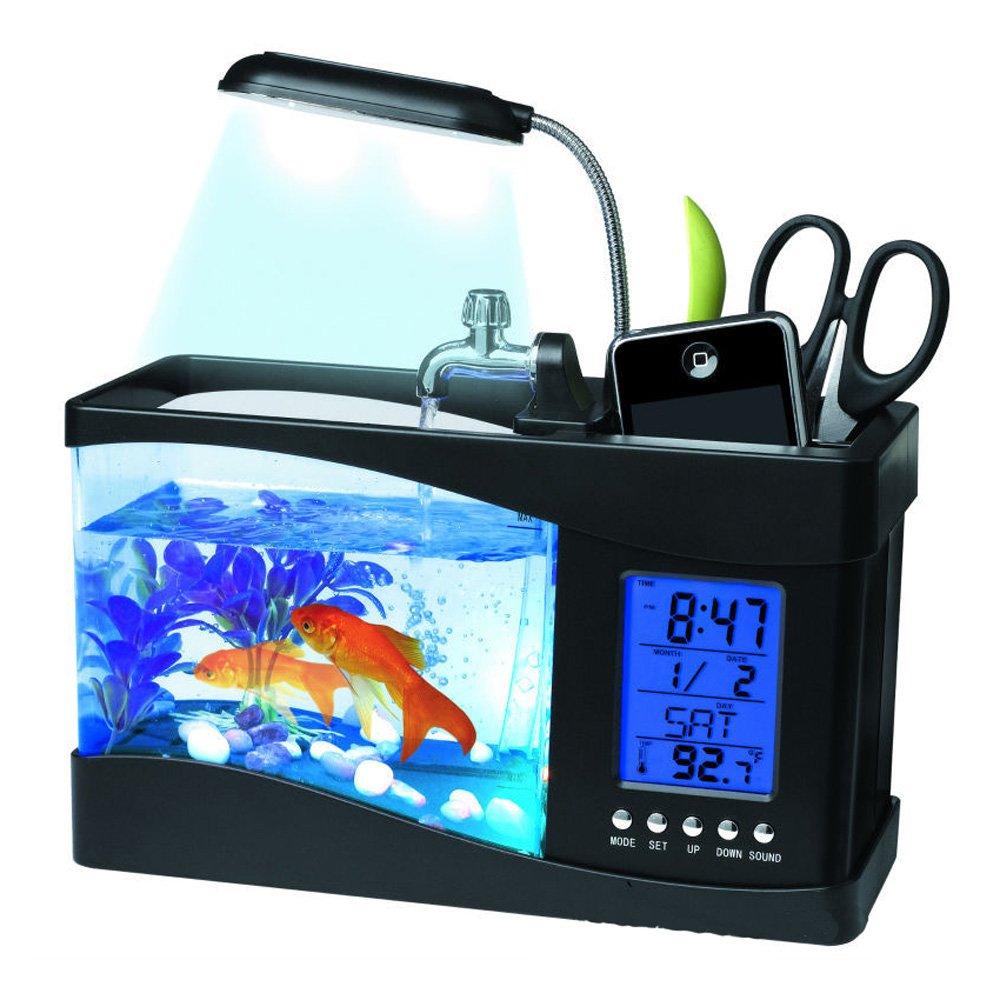 ajusen electrónica de sobremesa USB Mini tanque de peces acuario peces tanque con bomba de agua Correr LED Luz Calendario Reloj: Amazon.es: Productos para ...