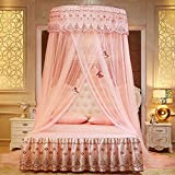 WLHOPE Mosquito Net Canopy Ceiling Stylish Lace Princess Butterfly Dome Mosquito Net Diameter 1.2M Bed Cotton Cloth Tent Baby Kids Indoor Reading Play Games House Anti-Mosquito Insect Net (Jade)