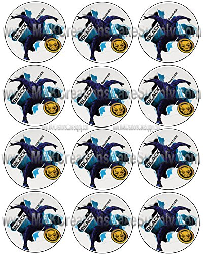 Price comparison product image Marvel's Black Panther Licensed Edible Cupcake / Cookie Toppers ~ 12 Per Sheet 44527