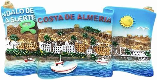 Almería España 3D Imán para refrigerador de resina, recuerdos de viaje, hecho a mano, decoración para el hogar y la cocina Almería, colección de imanes: Amazon.es: Hogar