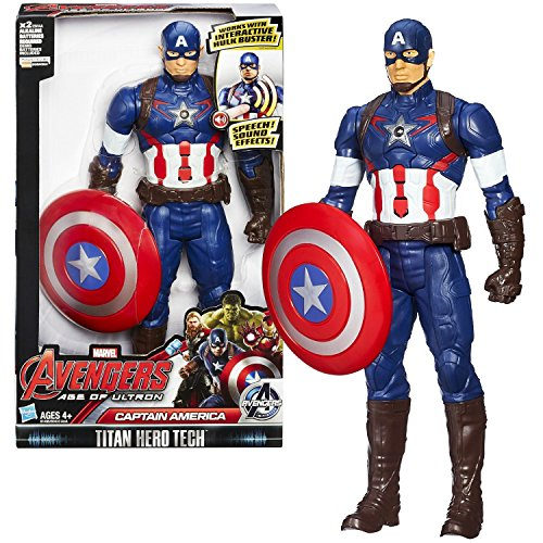 Hasbro Year 2015 Marvel Avengers Age of Ultron Titan Hero Tech 12 Inch Tall Electronic Action Figure - CAPTAIN AMERICA with Speech Feature Plus Shield