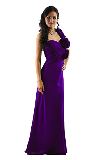 Gorgeous Chiffon One Shoulder Formal Dresses in Blue and Purple colours (UK8, Purple)