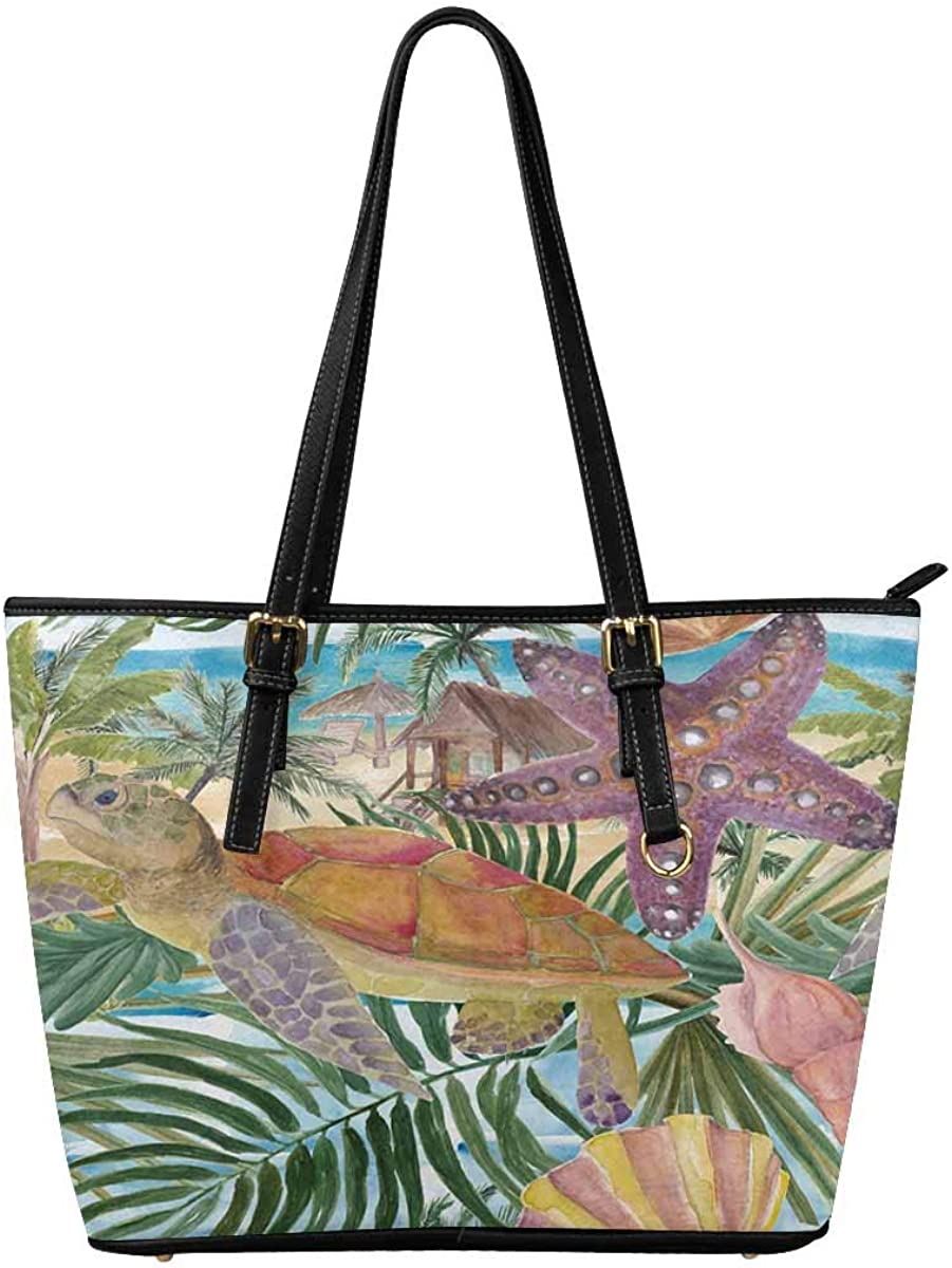 InterestPrint Top Handle Satchel HandBags Shoulder Bags Tote Bags Purse Starfishes and Turtle
