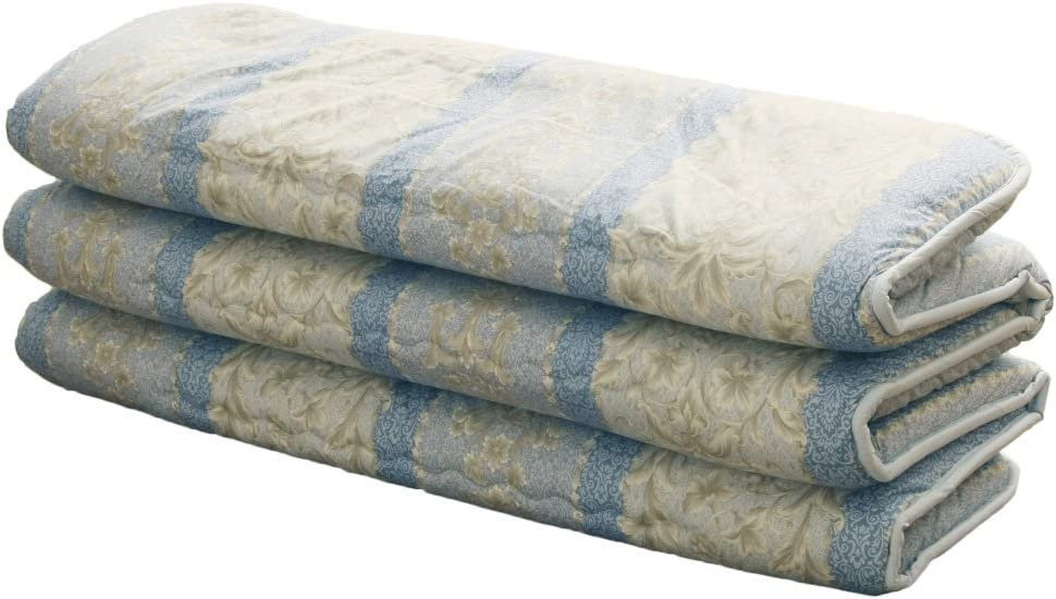 EMOOR Japanese Traditional Mattress Futon 6-fold, Twin Size. Made in Japan (Blue)
