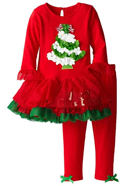 Amazon.com: Lyxinpf Little Girls Christmas Outfit Santa Long Sleeve ...