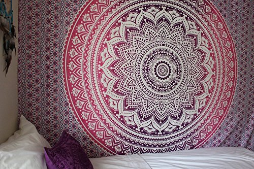 Indian Traditional Mandala Hippie Wall Hanging, Cotton Tapestry Ombre Bohemian Bedspread (Queen(84x90 Inches)(215x230 Cm), (Cotton Crewel Duvet)