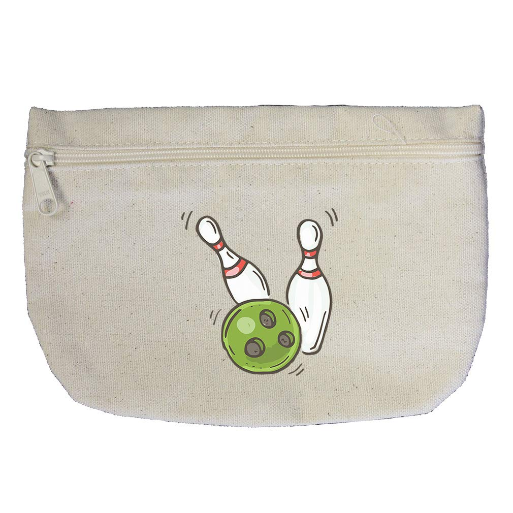 Bowling Set Cotton Canvas Makeup Bag Zippered Pouch
