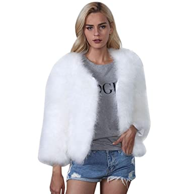 5e53ad3089e Creazrise Women Faux Fur Ostrich Feather Soft Fur Jacket Fluffy Winter Coat  at Amazon Women's Coats Shop