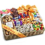 Golden State Fruit Birthday Party Chocolate, Candies and Crunch Gift Basket