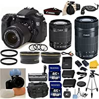 Canon EOS Rebel 70D Digital SLR Camera + Canon 18-55 STM Standard Zoom Lens + Canon 55-250 IS STM Zoom Lens + .43x Auxiliary Wide Angle Lens + 2x Telephoto Auxiliary Lens + 2pcs UV Filters + Extra Battery and Rapid Travel Charger + 4pc Macro Lens Set + 33rd Street Starter Kit with Cloth + 32GB Memory Card + Deluxe Power Grip + Premium Accessories Review Review Image