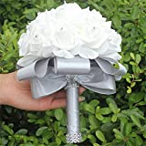 S-ssoy PE Hand Made Artificial Crystal Silk Roses Bouquet Holding Flowers Bridal Bridesmaid Bouquet Diamond Ribbon Wedding Decoration,Grey,Pack of 4
