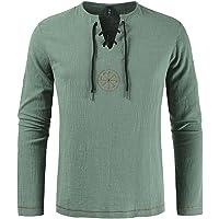 EElabper Camisa de algodón y lino para hombre, manga larga, color sólido, étnico para la playa, yoga